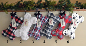 Six coordinating plaid, fur and deer print dog bone Christmas stockings