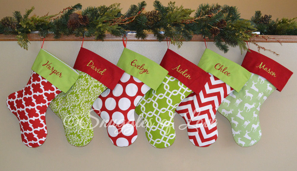 1afa21f64de Green Deer Personalized Christmas Stocking with Red Cuff – Snuggles ...