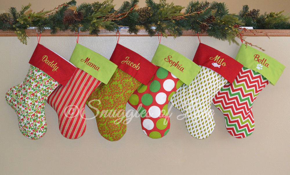six red and green christmas stockings with embroidered names - Red And Green Christmas Stockings