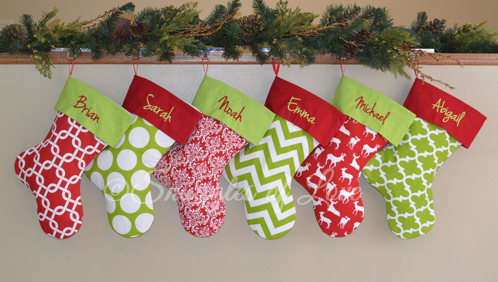 Personalized Christmas Stockings.Red Deer Personalized Christmas Stocking With Green Cuff