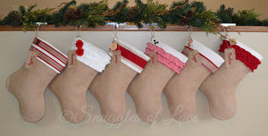Handmade monogrammed burlap, red and cream Christmas stockings