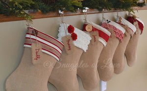 Shabby chic personalized burlap stockings, 6 unique and coordinating designs to choose from