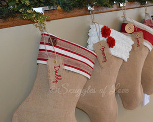 Personalized burlap Christmas stockings with hanging name tags, size unique coordinating designs