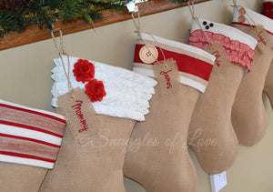 Personalized Burlap Christmas Stocking with Cream Ruffles and Red Flowers