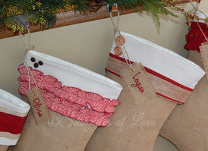 Shabby chic personalized Christmas stockings