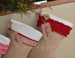 Embroidered tan burlap Christmas stockings