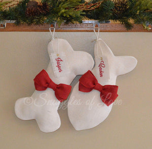 Personalized ivory burlap pet stockings with red bows