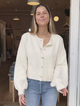 Load and play video in Gallery viewer, Carey Fur Cardigan Ivory