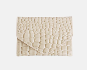 Croco Wallet in Soft Off White