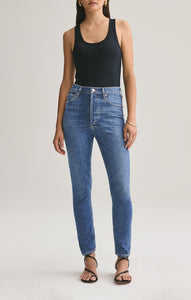 Nico High Rise Slim Jeans in Subdued