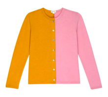 Load image into Gallery viewer, Duo Sweater Cardi in Mustard/Rose