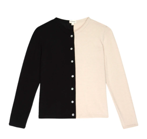 Duo Sweater Cardi in Creme/Black