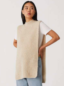 Cornetto Knit Poncho in Light Beige
