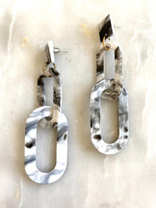 Ramona Marble Chain Link Earrings