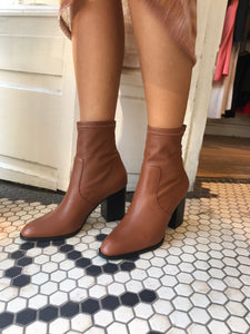 Janet Boot in Tan Stretch