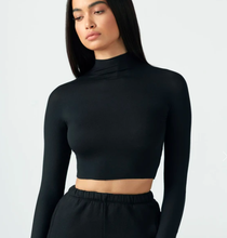 Load image into Gallery viewer, Cropped Mock Neck Long Sleeve in Black