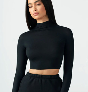 Cropped Mock Neck Long Sleeve in Black