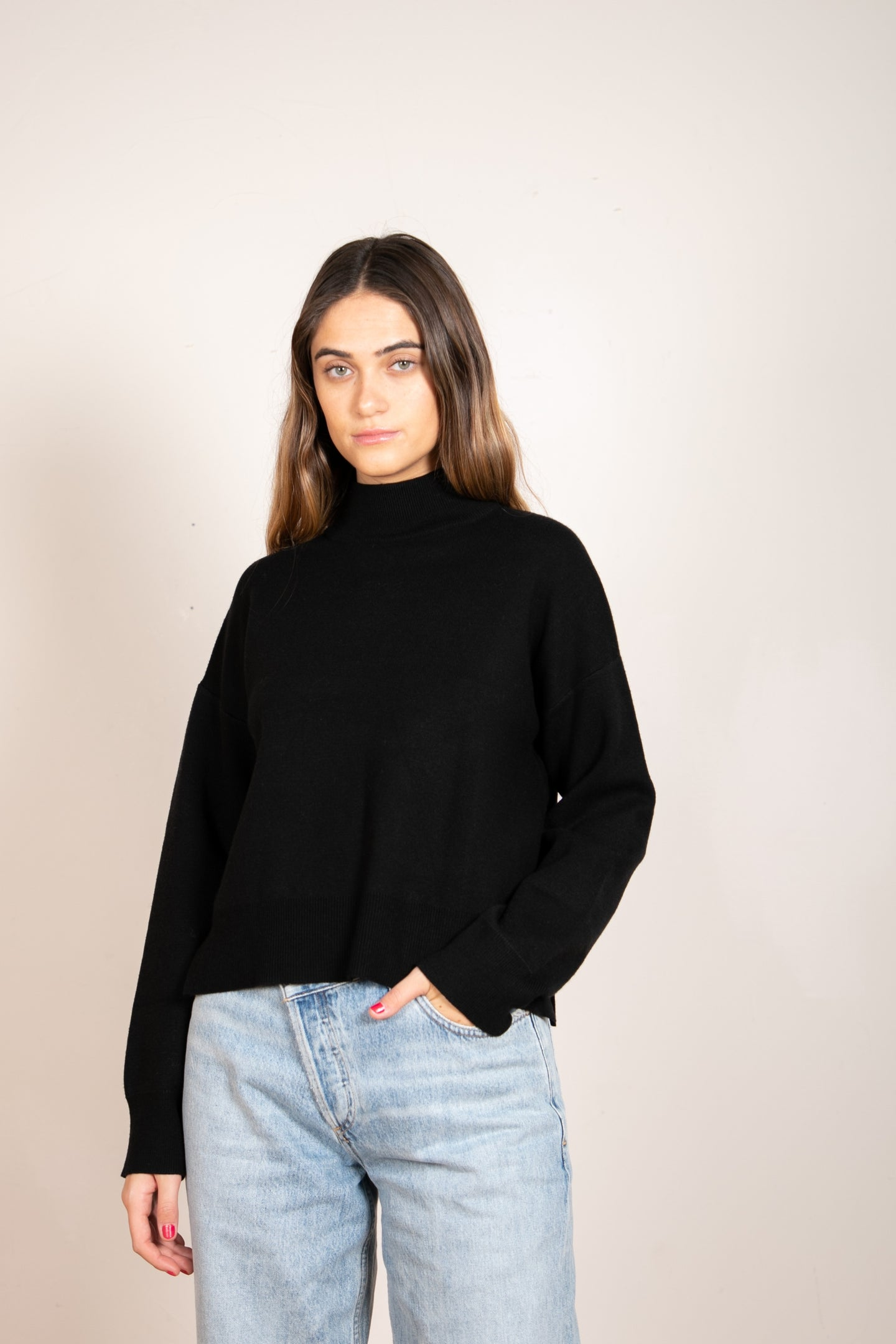 Romary Mock Neck Sweater Black