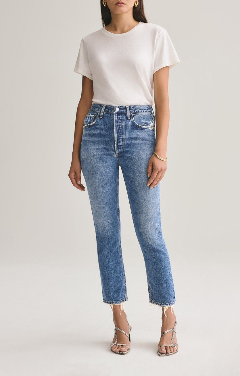 Riley High Rise Straight Crop Jean in Frequency