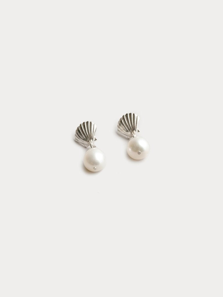 Marcel Shell and Pearl Silver Studs