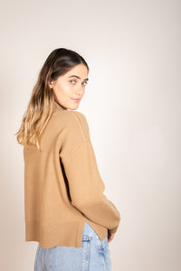 Romary Mock Neck Sweater Camel