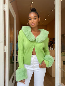 Peggy Cardigan with Fur in Palm Green
