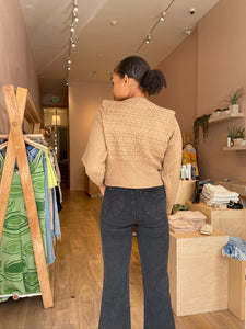 Sophia Notched Shoulder Sweater in Toffee