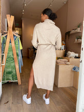 Load image into Gallery viewer, Canaan Recycled Blend Turtleneck Dress in Beige