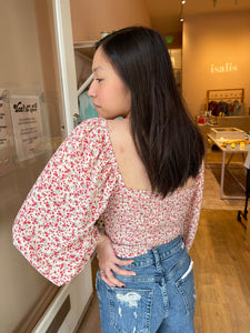 Blair Knot Front Top in Rose