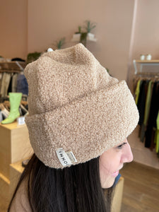 Mini Sherpa Beanie in Sand