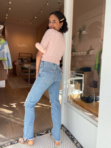 Lana Mid Rise Vintage Straight Jean in Backdrop