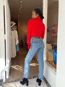 Jemma Cropped Turtleneck in Ruby w/ Thumbholes