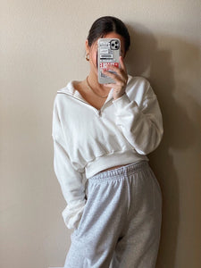 Calvin Cropped Sweatshirt White