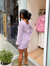 Load image into Gallery viewer, Eloise Ruched Mini Lilac Dress