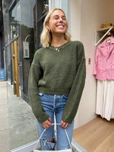 Load image into Gallery viewer, Frances Cropped Sweater in Blackened Olive