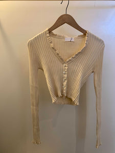 Chloe Button Up Long Sleeve Top in Creme