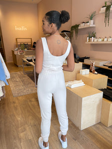 Ribbed Jumpsuit in Natural