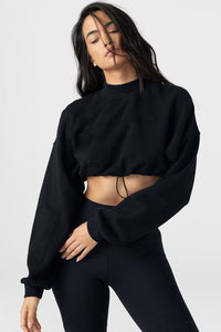 Draw Cord Crop Crew in Black French Terry