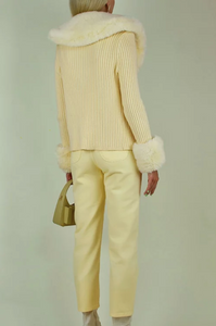 Peggy Cardigan with Fur in Blonde