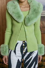 Load image into Gallery viewer, Peggy Cardigan with Fur in Palm Green