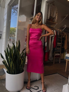 Nina Slip Midi Dress Barbie Pink
