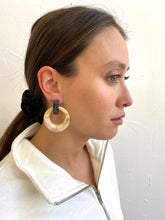 Load image into Gallery viewer, Jasmin Beige and Black Statement Hoop