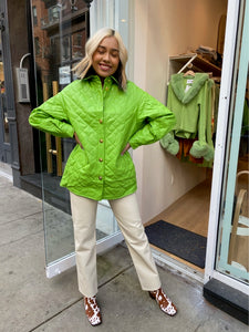 Mid Century Quilted Jacket in Palm Green