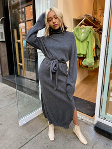 Canaan Cashmere Blend Turtleneck Dress in Graphite