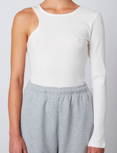 Load image into Gallery viewer, Asymmetrical Ribbed Tee in White