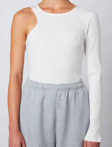 Asymmetrical Ribbed Tee in White