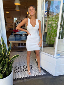 Alder Ribbed Dress in White