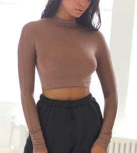 Cropped Mock Neck Long Sleeve in Sienna