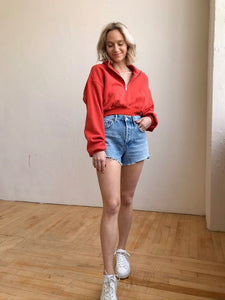 Calvin Cropped Sweatshirt Red