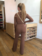 Load image into Gallery viewer, Willow Knit Flare Pant in Chocolate